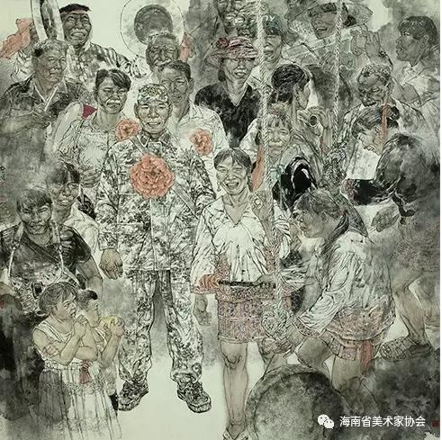 黎盛健《送兵图》_中国画_金奖
