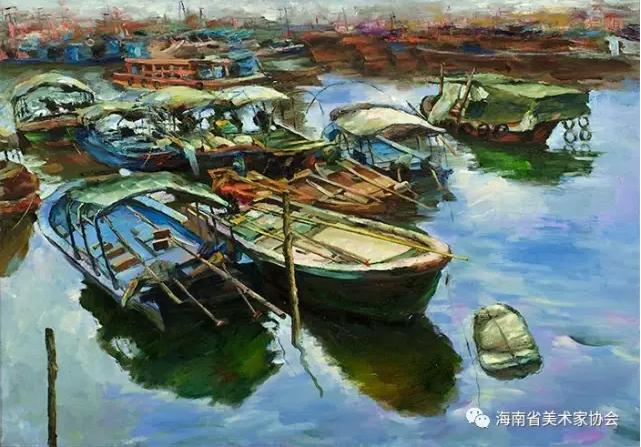 周光《渔港照晖》油画-66x80cm-铜奖