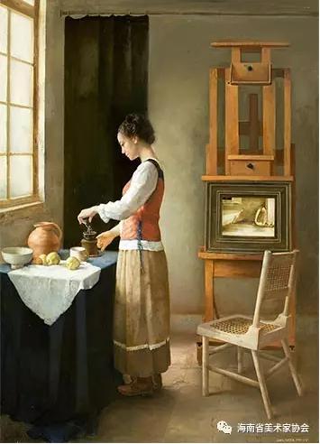 梁玉春《咖啡时间》油画-银奖