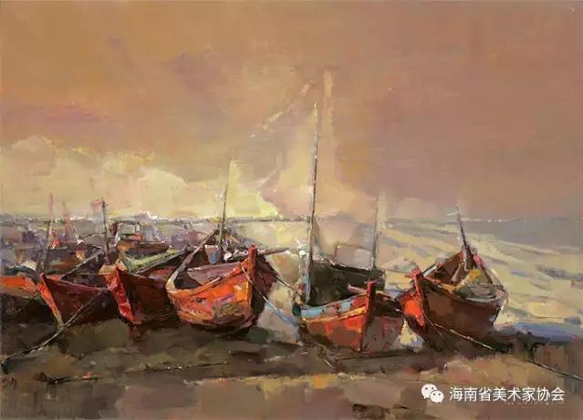 郭泽光《远古的记忆—船歌》油画_110x130cm-银奖