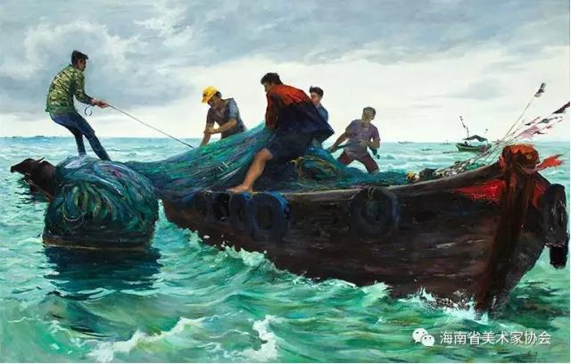 林国华《莺歌海渔民》油画-金奖
