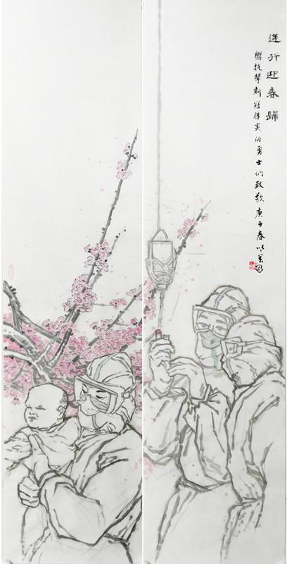 国画_《逆行——迎春归》作者:蒲以宏
