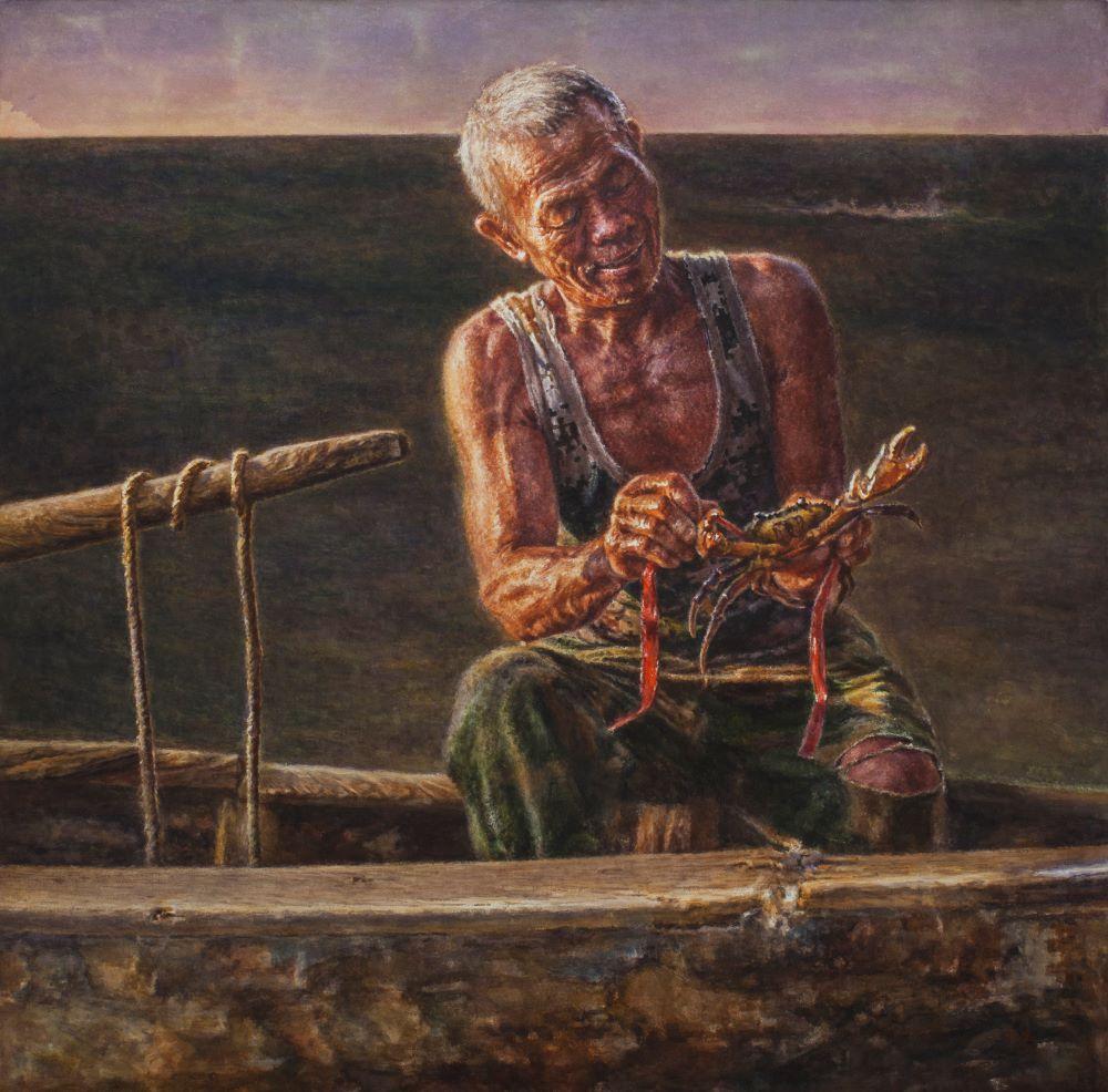 水彩画《南海渔翁》